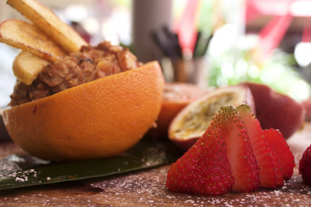 Four Birds Breakfast Board - Bircher Muesli with grilled grapefruit, honey, sour yoghurt and fresh fruit
