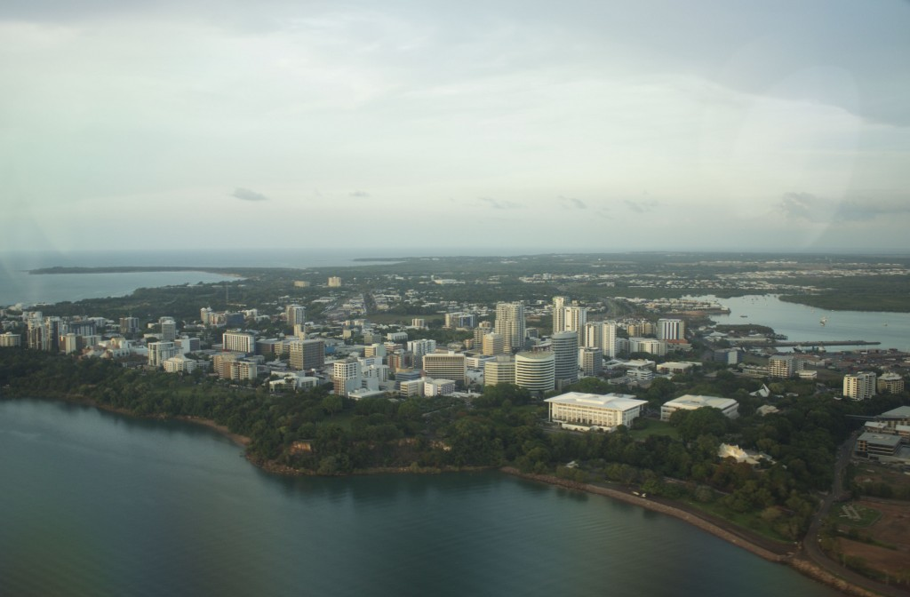 Flying low over Darwin City